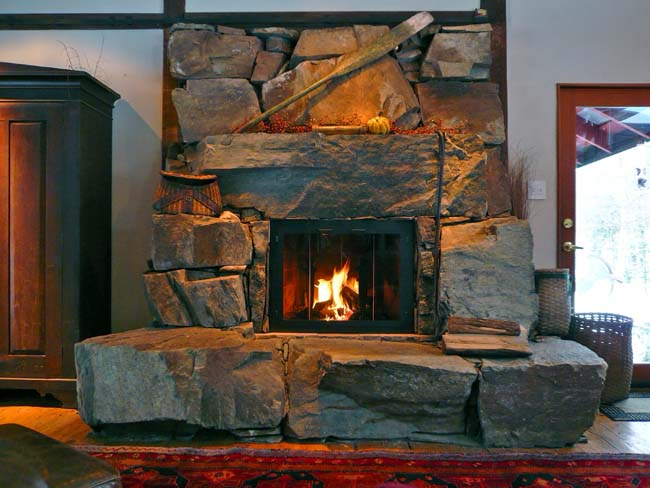 how to arrange the room with stacked stone fireplace entry d
